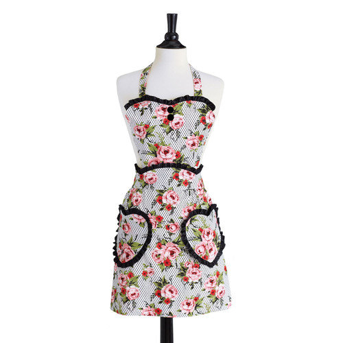 Jessie Steele Cottage Rose Lace Pink Convertible Sweetheart Apron