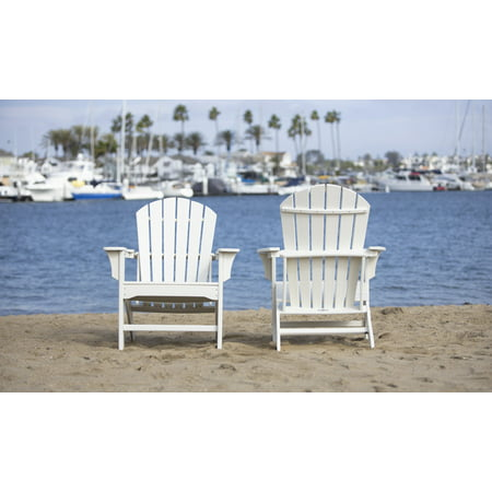 LuXeo Hampton Curved Back Plastic Adirondack Chair - White (Set of 2)