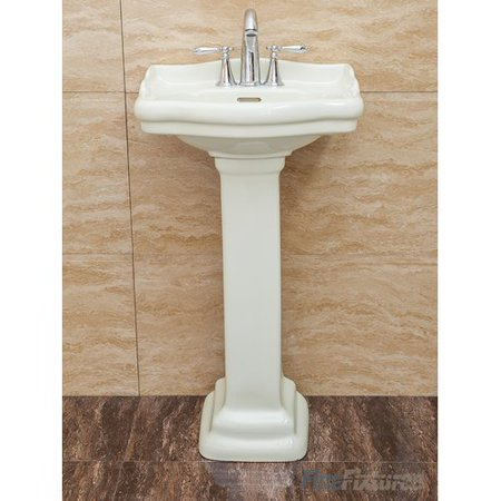 Fine Fixtures Roosevelt Vitreous China 18'' Pedestal Bathroom Sink with Overflow