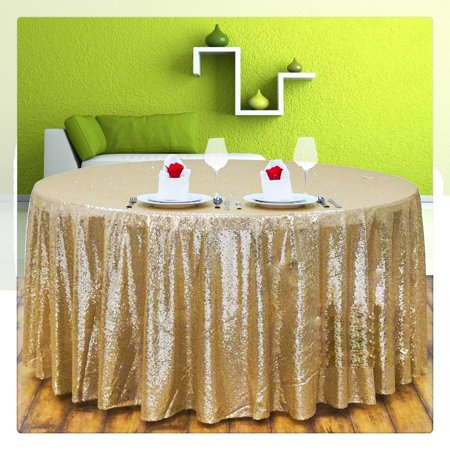 Christmas Tablecloths And Napkins (50''x45'' Sparkly Glitter Sequin Tablecovers Fabric Tablecloth For Wedding/Event/Party/Banquet Photography Backdrop Christmas Champagne Gold Decor)