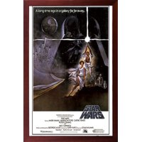 FRAMED Star Wars - A New Hope (Style A) 24x36 Poster in Real Wood Walnut Brown Finish Crafted in USA