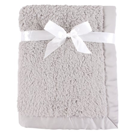 Hudson Baby Boy and Girl Plush Blanket with Satin Binding, Gray