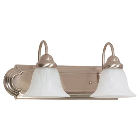 "Nuvo Lighting 63208 - 2 Light (Twist  and  Lock Base) 18"" Ballerina Brushed Nickel Finish with Alabaster Glass Vanity Light Fixture (60-3208)"