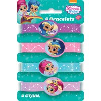Shimmer and Shine Rubber Bracelet Party Favors, Assorted, 4ct