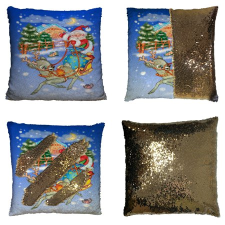 GCKG Festival Pillowcase, Merry Christmas Santa Claus in Sleigh with Reindeer Reversible Mermaid Sequin Pillow Case Home Decor Cushion Cover 16x16 inches ()