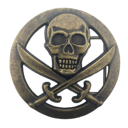 Skull Skeleton Danger Sign Horror Belt Buckle Cross Swords Brass Finished Costume Metal Fashion