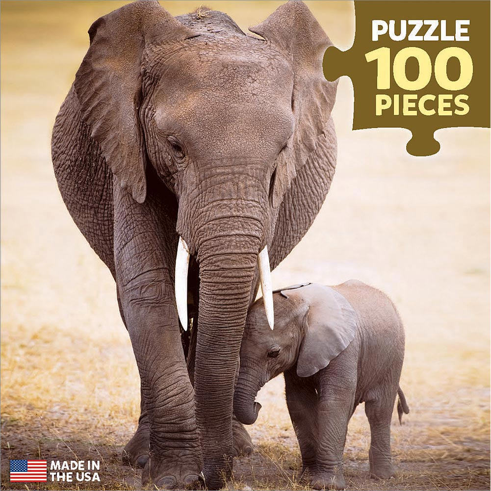 Elephant and Baby Mini 100 Piece Puzzle