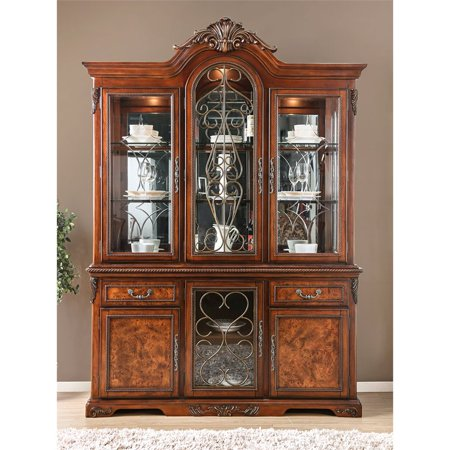 - Furniture of America Eleanora China Cabinet in Brown Cherry