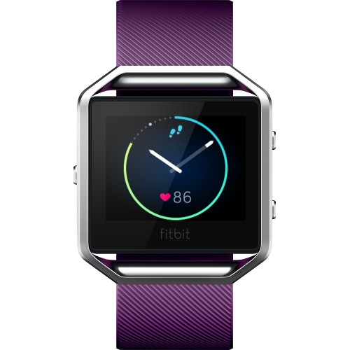 Refurbished Fitbit FB502SPML Blaze Smart Fitness Watch, Plum, Silver, Large