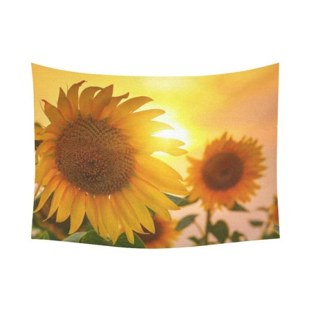 GCKG Sunset Yellow Blooming Sunflower Tapestry Wall Hanging Beautiful Plant Landscape Wall Decor Art for Living Room Bedroom Dorm Cotton Linen Decoration 80 x 60 (Blooms Tapestry)