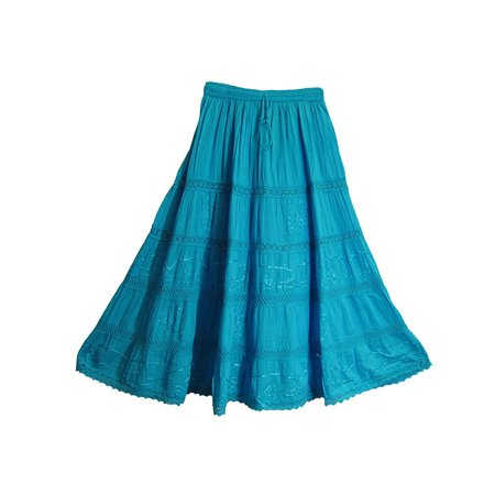 Womens Bohemian Blue Embroidered Lace 3-tier Gauze Cotton Long Maxi Skirt