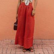 Women Fashion Casual Solid Color High Waist Pants Linen Loose Ladies Wide Leg Pants Female Trousers