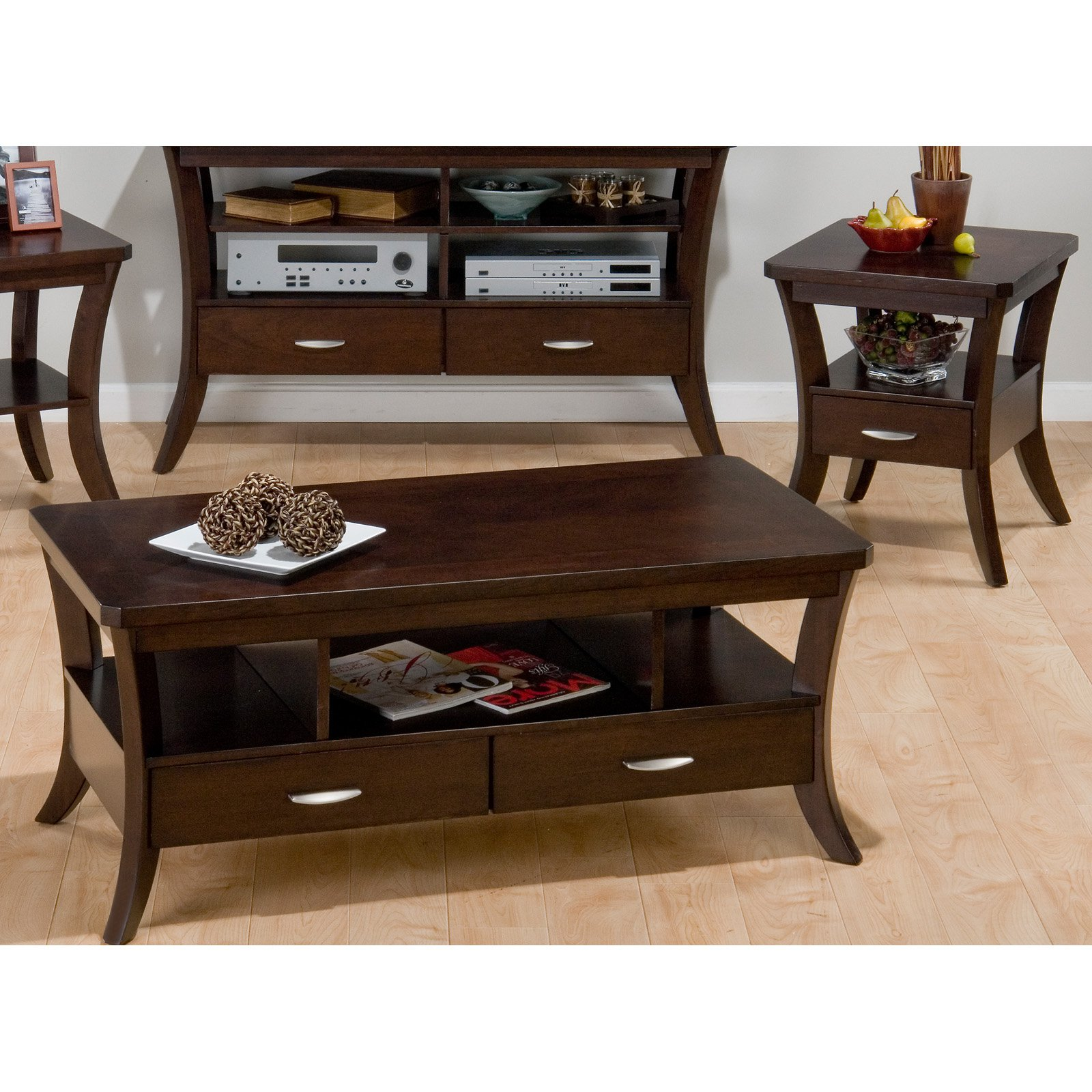 Attirant Jofran Joes Espresso Rectangular 3 Piece Coffee Table Set   Walmart.com