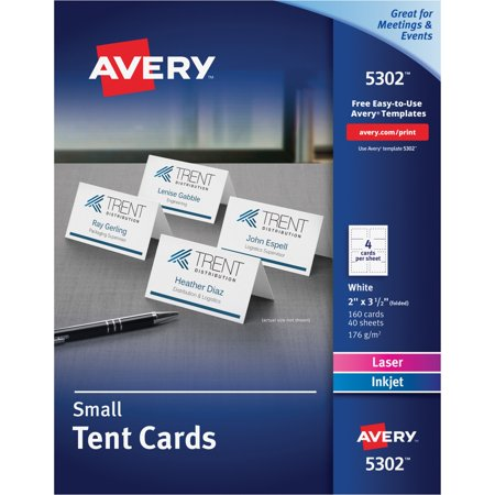 Avery Small Tent Card White X CardsSheet Box - Card template free: avery place card template