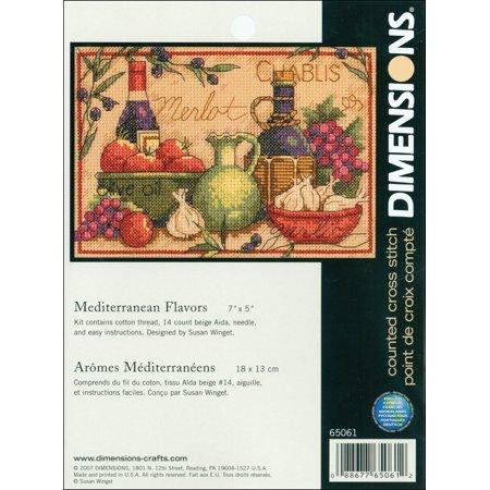 "Dimensions ""Mediterranean Flavors"" Mini Counted Cross Stitch Kit, 7"" x 5"""