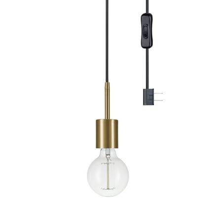 Globe Electric Leila 1-Light Brass Plug-In Pendant, 65980 Aged Brass Mini Pendant