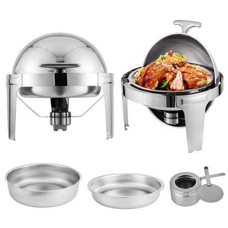 BestEquip 2 Packs Stainless Steel Chafing Dish 6 Quart Round Chafer Roll Top Chafer for Catering Buffet Warmer Set with Pans and Fuel Holders (Pan Warmers)