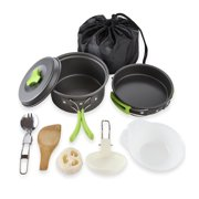 Houkiper Portable Camping Cookware Mess Kit Folding Cook Set Lightweight Durable Pot Pan Bowls With Carrying Bag Outdoor Cook Equipment For Hiking Backpacking