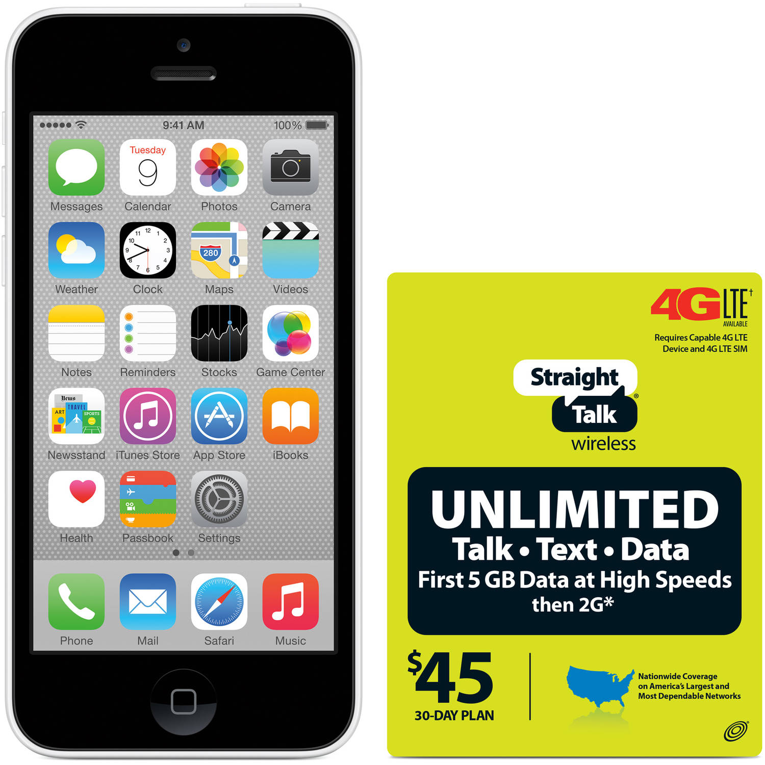 Straight Talk Apple iPhone 5 16GB White Refurbished Prepaid Smartphone w/ Bonus $45 Unlimited Plan
