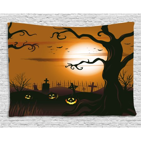 Halloween Decorations Tapestry, Leafless Creepy Tree with Twiggy Branches at Night in Cemetery Graphic, Wall Hanging for Bedroom Living Room Dorm Decor, 80W X 60L Inches, Brown Tan, by Ambesonne - Cemetery Halloween Events
