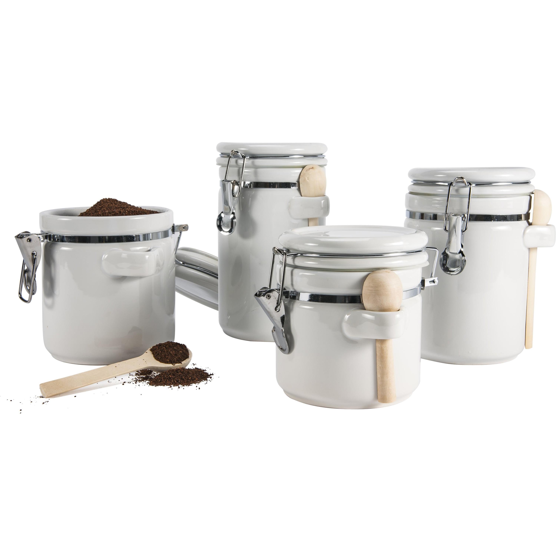 Anchor Hocking Ceramic 4 Piece Kitchen Canister Set, White ...