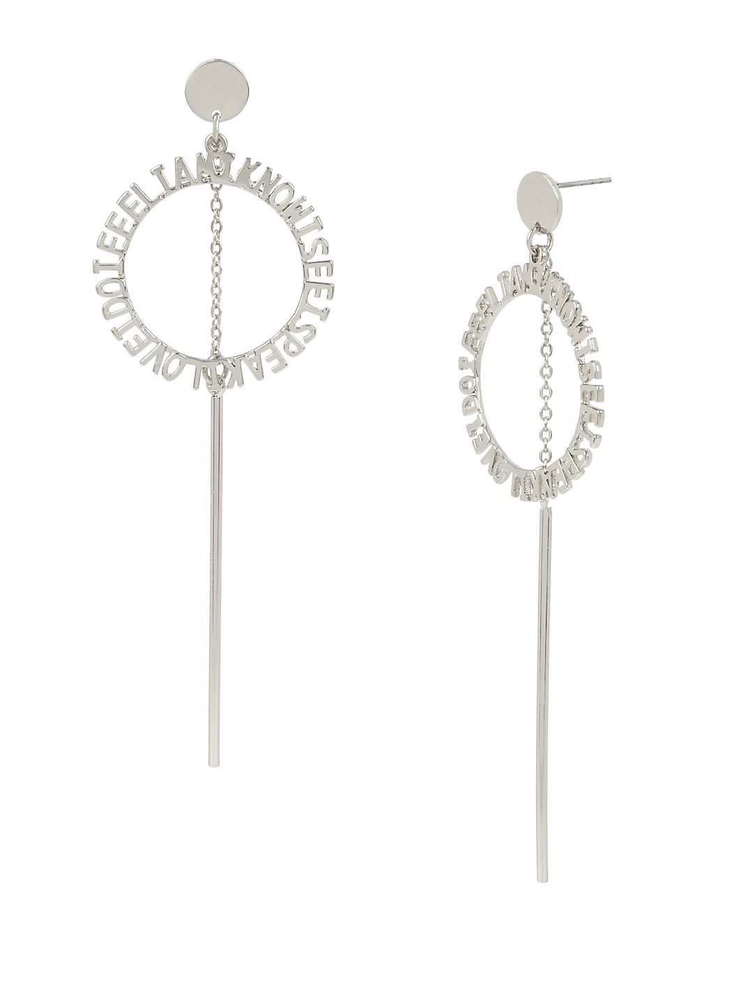 Affirmation Silvertone Circle & Stick Drop Earrings