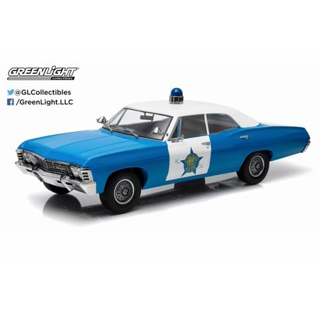 1967 Chevy Biscayne - 1967 Chevy Biscayne City of Chicago Police Department, Blue with White Roof - Greenlight 19009 - 1/18 Scale Diecast Model Toy Car