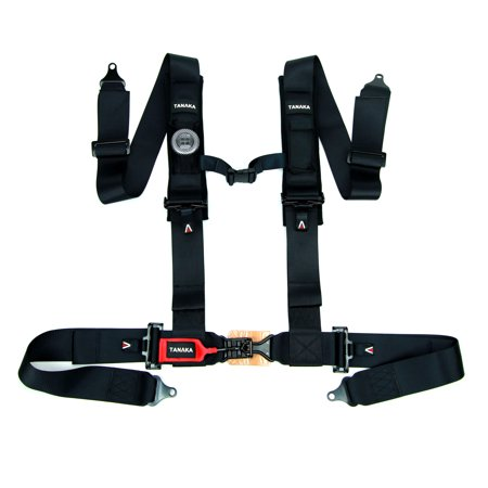 """Tanaka BLACK SERIES Latch and Link 4 Point Safety Harness Set with Ultra Comfort Heavy Duty Shoulder Pads and Utility Pockets (for one seat) (Black) (3"""")"""