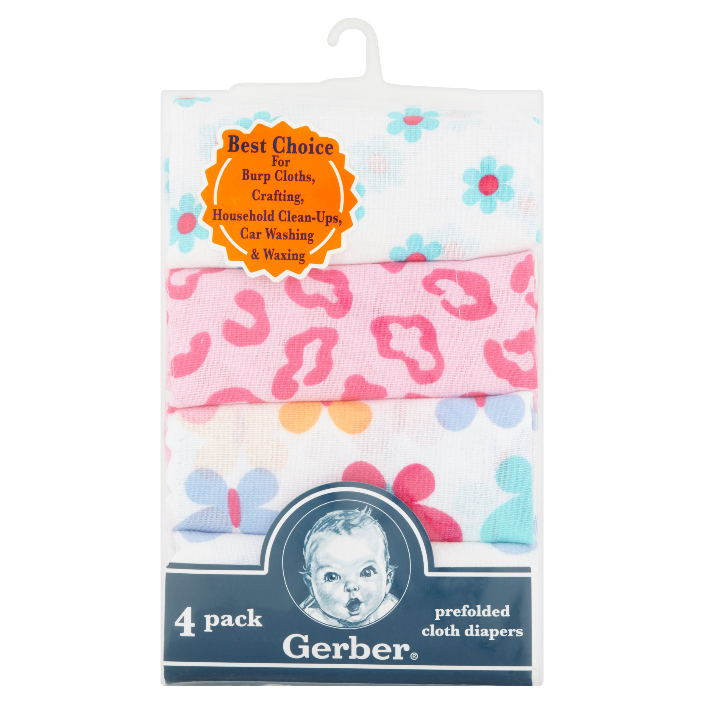 Gerber Prefolded Cloth Diapers 2 Girls 4 Pack
