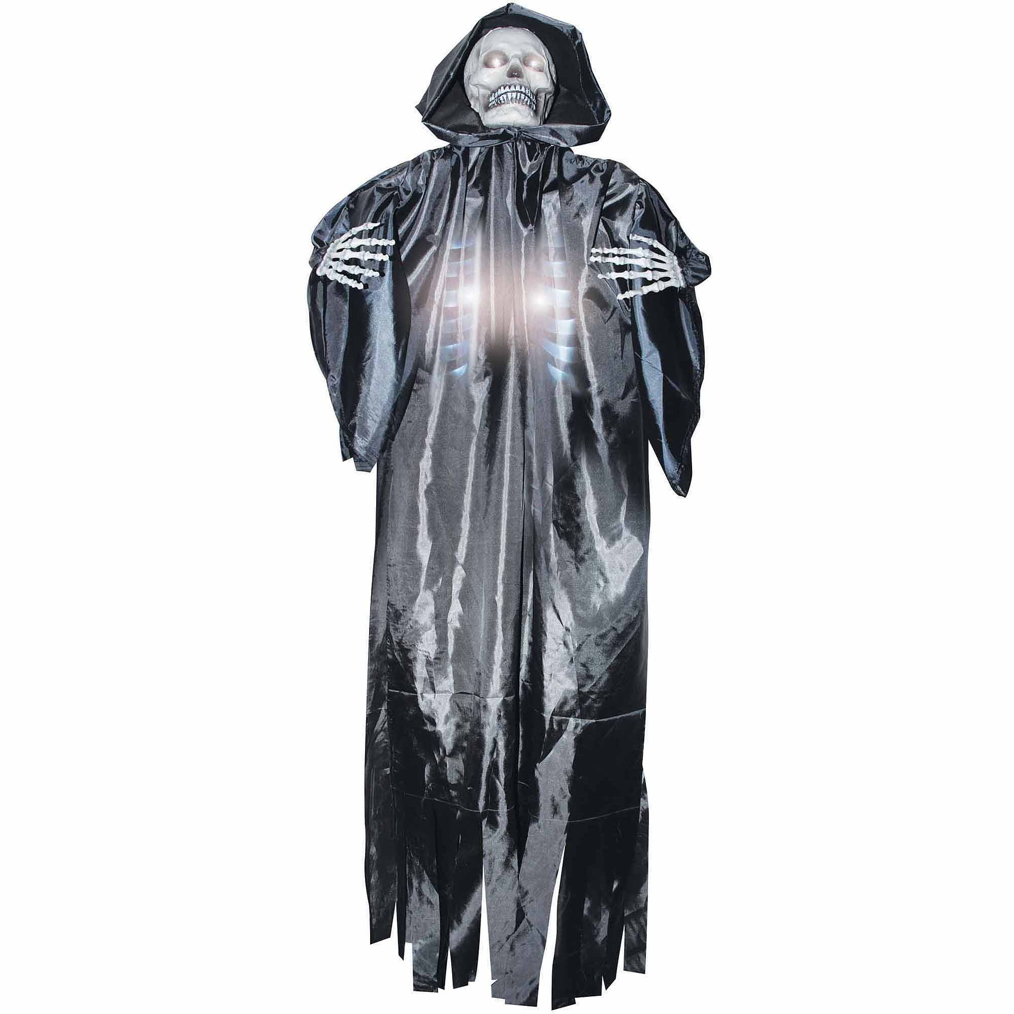 Lifesize Light Up Shocking Sound Skeleton Reaper Hanging Halloween Prop