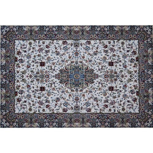 Astoria Grand Manion Hand Look Persian Wool Blue/Ivory/Brown Area Rug