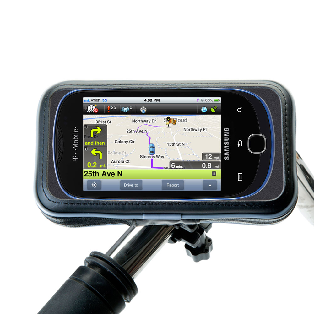 Heavy Duty Weather Resistant Bicycle / Motorcycle Handlebar Mount Holder Designed for the Samsung Gravity Touch 2