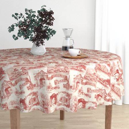 Round Tablecloth French Vintage Toile France Turkey Red Linen Luxe Cotton Sateen (Linen Loupe)