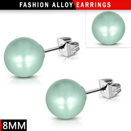 8mm Fashion Mint Green Resin Faux Pearl Bead Ball Stud Earrings pair