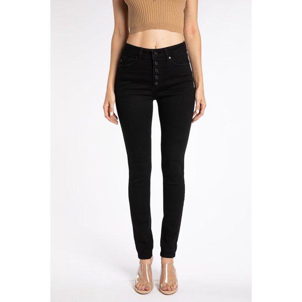 Kancan Jeans Victoria High Rise Exposed Button Wash Skinny Jeans Kc7113 Walmart Com Walmart Com