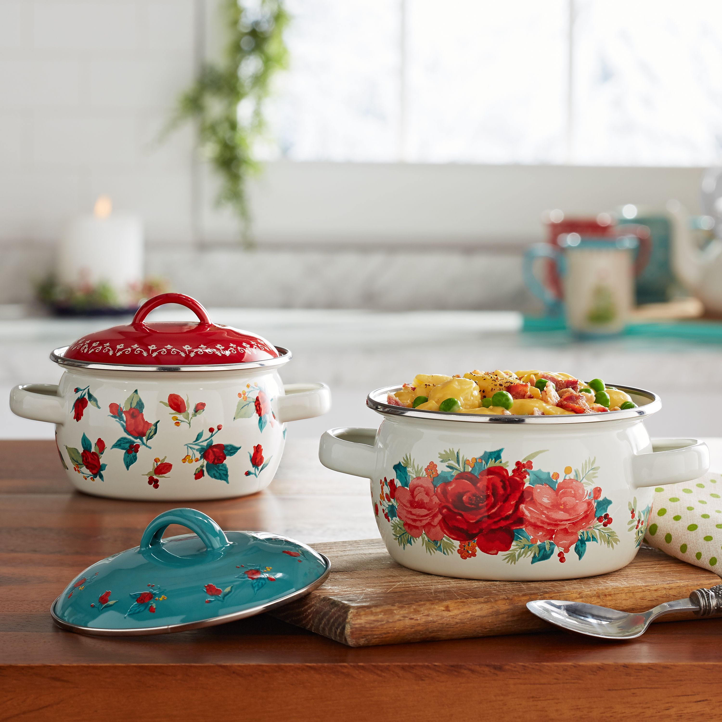 The Pioneer Woman Cheerful Rose Mini Dutch Ovens, Set of 2 ...