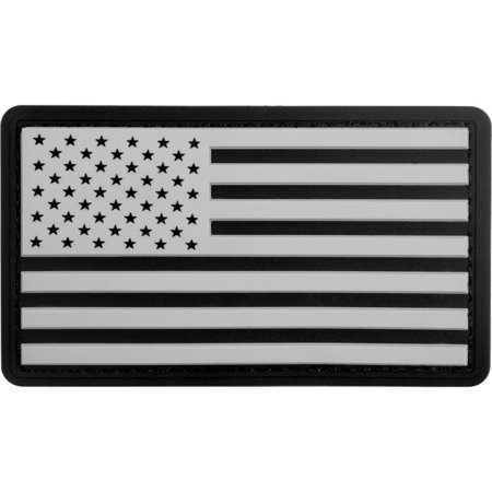 Premium Us Flag (Black/White - PVC US Flag Patch with Hook Back)