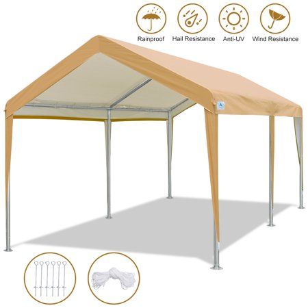 10 x 20 FT Heavy Duty Carport Car Canopy Garage Shelter Party Tent with Steel Pegs and Anchors, Beige