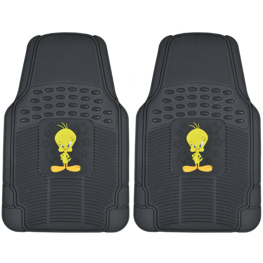 Tweety Bird Car Floor Mats Warner Brothers Character Mat, 2-Piece, Trimmable
