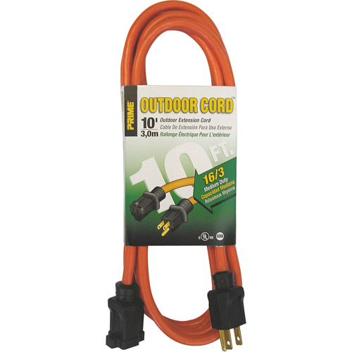 Prime Wire 10-Foot 16/3 SJTW Medium Duty Extension Cord, Orange