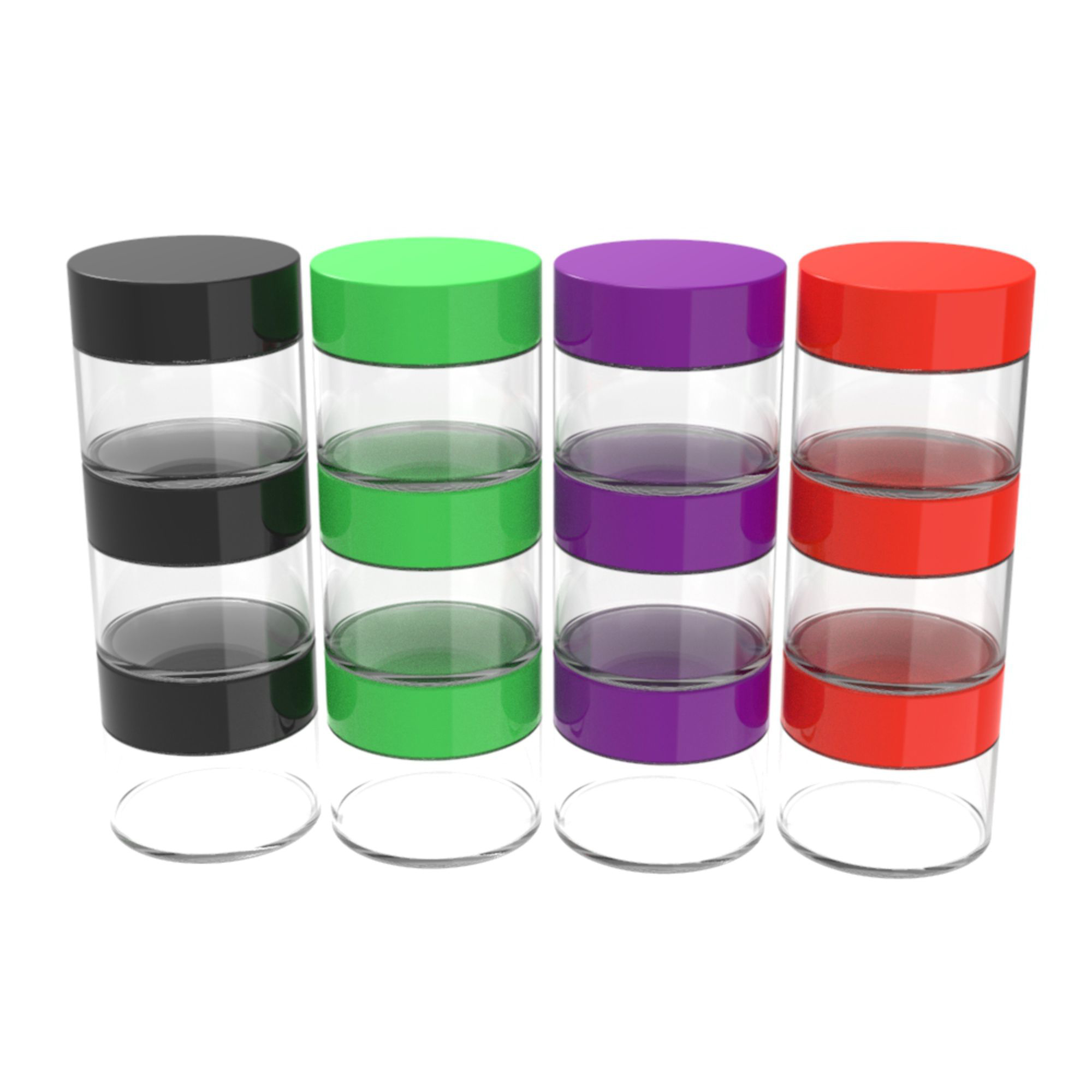 Stalwart 20ml Clear Storage Jars, Colored Lids, 12-Piece by Trademark Global LLC