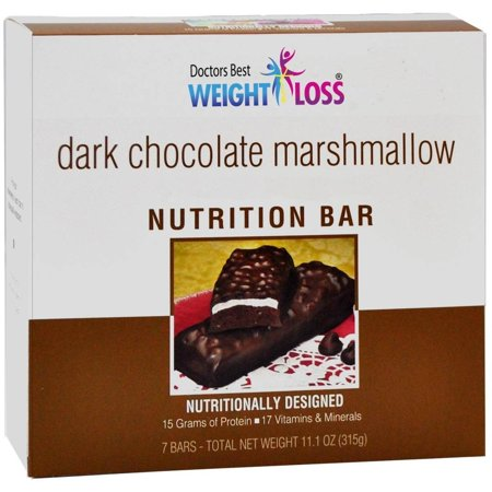 DOCTORS BEST WEIGHT LOSS - High Protein Diet Bar |Dark Chocolate Marshmallow| Low Calorie, Low Fat, High in Fiber (7/Box)