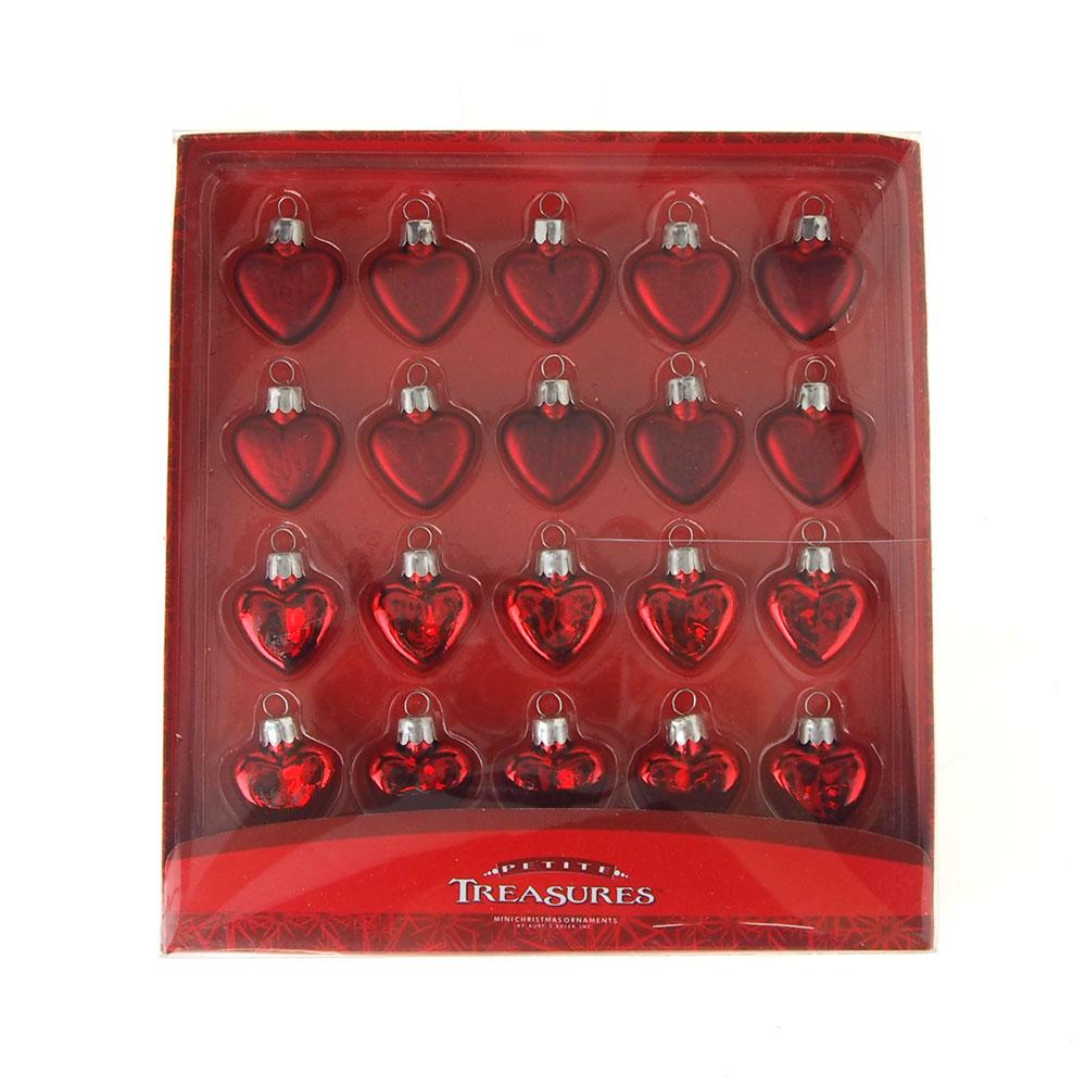 Petite Treasures Miniature Red Heart Glass Christmas Tree Ornaments, 1-Inch, 20-Piece