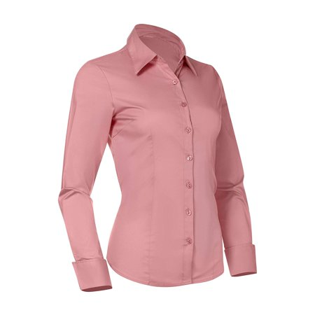 Button Down Shirts for Women, Fitted Long Sleeve Tailored Shirt Blouse (X-Small, Pink) (2 Button Down Shirt)