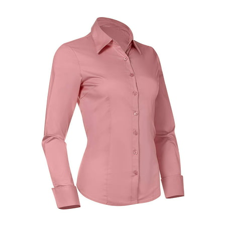 - Button Down Shirts for Women, Fitted Long Sleeve Tailored Shirt Blouse (X-Small, Pink)