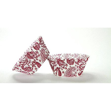Burgundy Cupcake Wrappers (50pc Paisley Design Burgundy Standard Size Cupcake Baking Cups Liners)
