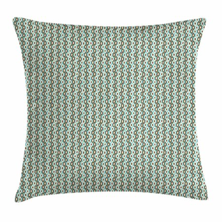 Retro Throw Pillow Cushion Cover, Abstract Style Simplistic Oval Shapes Repeating on Turquoise Background, Decorative Square Accent Pillow Case, 20 X 20 Inches, Turquoise Brown Ivory, by Ambesonne ()