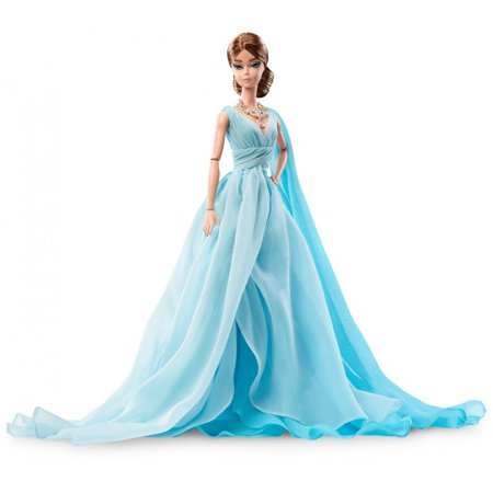 Barbie Fashion Model Collection Blue Chiffon Ball Gown Barbie Doll (Blue Mermaid Doll)