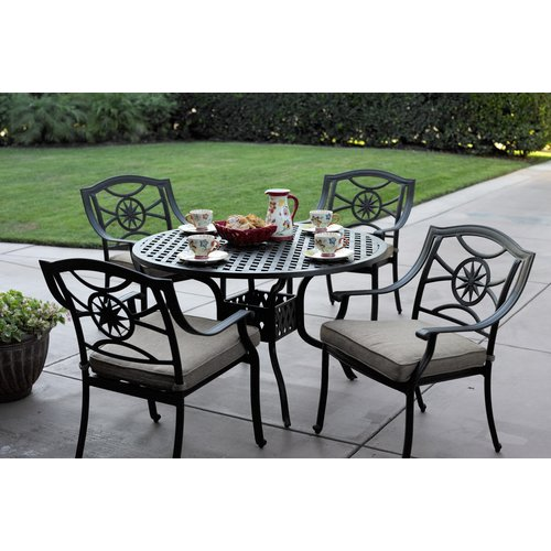 Alcott Hill Thompsontown 5 Piece  Powder-Coated Dining Set with Cushions