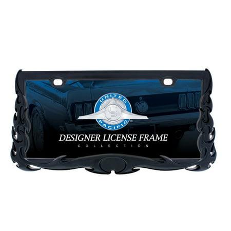 Paint Tribal Flames - Matte Black Tribal Metal Flame License Plate Tag Frame Holder Car Truck